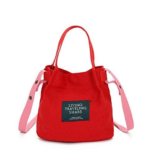Sfit Femme Sac en Toile Couleur Unie Multifonctionnel Grande Capacité Portable 17*10*21cm Rouge