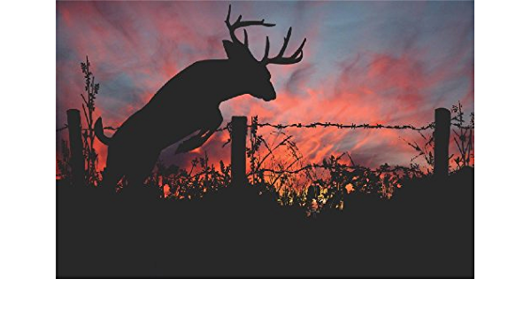 Deer Wall Decal Smashed Concrete Wall Art Decal Hunting Deer Sunset Wall Decor Bedroom Vinyl Wall Sticker