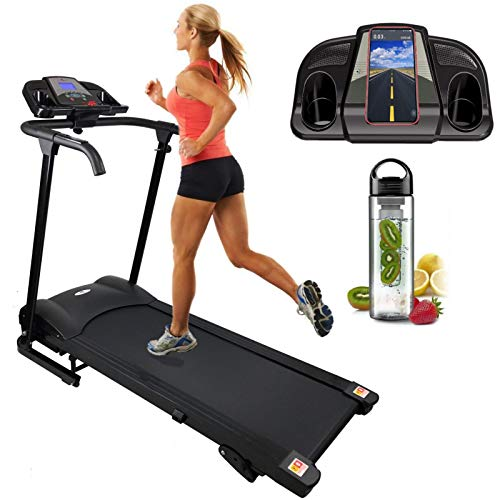 Nero Sports Bluetooth Manual Incline Folding Running Machine Motorised Treadmill with Built in Speakers Black