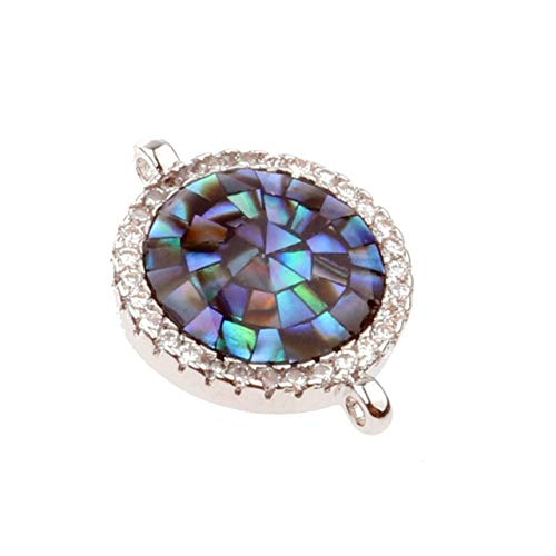 - Laliva New Colorful Natural Gravel Shell Round Pendant Bracelet Necklace Jewelry Making Copper CZ Zircon DIY Beads Jewelry Accessories - (Color: Platinum)
