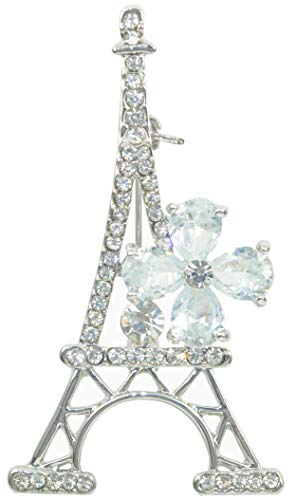 (Gyn&Joy Silvery Tone Plated Clear Crystal CZ Flower Paris Eiffel Tower Fashionable Jewel Pin Brooch BZ185)