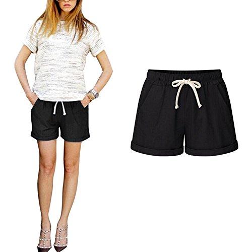 Shorts Corti Pantaloni Moda Donna Unita Fit M Loose Pantaloni Cordoncino Tinta Vita 6XL Elastica nero con Comodi Casuale xpgf0WfSn