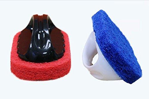 Handle Sponge Brush Cleaning for Kitchen Bathroom Tub Scrubbing Shower Bathtub Scrubber, pool Cleaning, Set of 2 (Handle Scrub Short Brush)