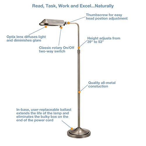 Verilux vf03ff5 heritage deluxe natural spectrum floor for Verilux heritage floor lamp antique brass