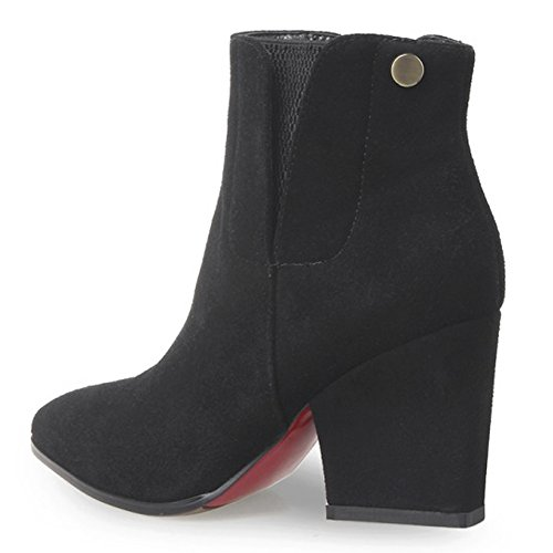 Panel Heel with Martin Black Women Boots Pointed Elastic Chunky QZUnique Ankle Toe Booties Slip IZfPnqw