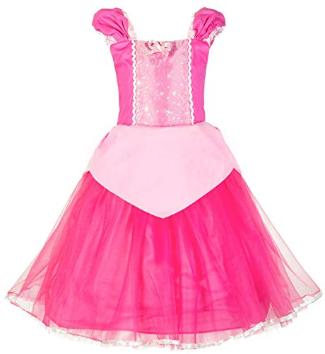Okidokiyo Little Girls Princess Aurora Costume Halloween Party Dress Up (Toddler Pink, 4T) -