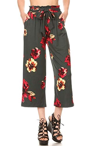 - ShoSho Womens Paper Bag Waist Cropped Pants Casual Wide Leg with Pockets Floral Print Olive/Red Medium