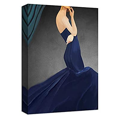 Woman In Dark Blue Dress - Canvas Art