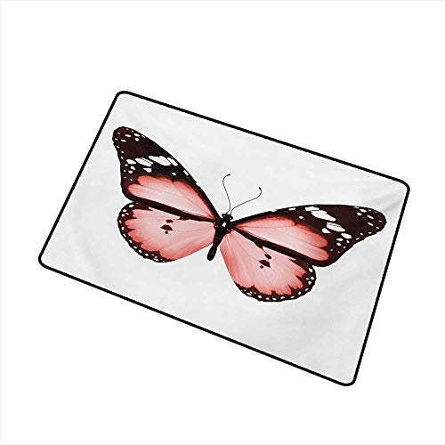 duommhome Door mat Pale Pink Butterfly Natural Beauty Animal Free Spirit Wings Valentines Lovers Theme W16 xL20 Antifouling