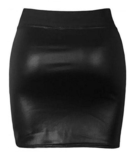 Ladies High Waist Wet Look Mini Panel PVC Casual Party Elastic Band Skirt (XXXL, Wet Look Black)