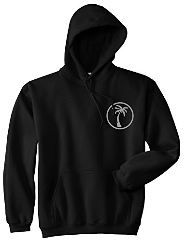 Kings Of NY Palm Tree Chest Logo Mens Pullover Hoodie Hoody Large Black