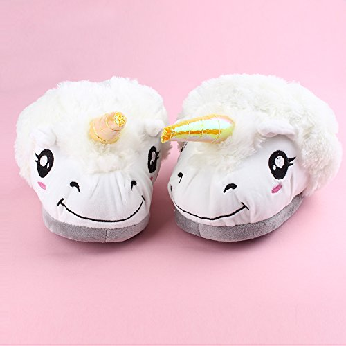 YOU'S Pantofole bianca unicorno peluche morbido, Slip Pantofole Inverno Scarpe Animal novità Design (36-39)