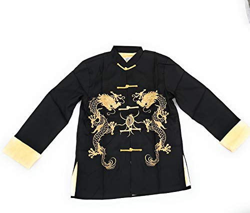 THY COLLECTIBLES Traditional Chinese Embroidered Silk Kung-Fu Tang Jacket Coat Tai Chi Uniform Double Dragon (Black, Asian XXXL = US XXL)