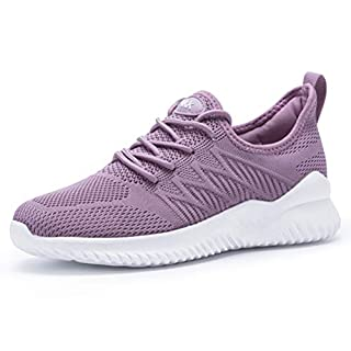 Akk Womens Walking Tennis Shoes - Slip On Memory Foam Lightweight Casual Sneakers for Gym Travel Work Lightpurple 9