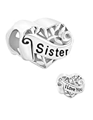 Sister Heart Sterling Silver Jewelry I Love You Filigree Tree Of Life Charms Sale Cheap Fit Pandora Bracelet