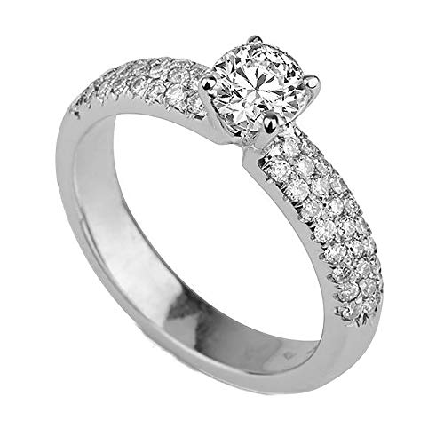(1 TCW D-F VS Diamond Engagement Ring Certified Lab Grown Round Promise Ring 14K Gold)