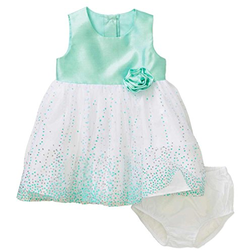 George Infant Girls Mint Green & Silver Polka Dot Easter & Holiday Dress 3-6m