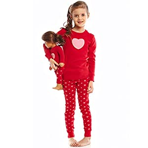 Leveret Kids & Toddler Pajamas Matching Doll & Girls Pajamas 100% Cotton Pjs Set (Toddler-14 Years) Fits American Girl
