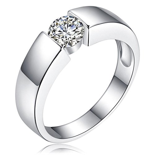 Cut Diamond Fashion - Pocciol Diamond Rings, Luxury Fashion Men Women Diamond Wedding Ring Engagement Bijoux Jewelry (Silver, 7#)