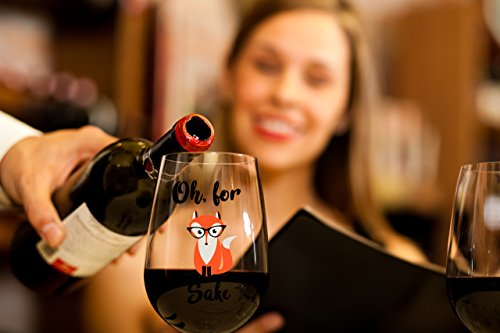 Oh, For Fox Sake 15 oz Stemless Funny Wine Glass | Unique Fox Themed Birthday Gifts For Men or Women | Fox Lover Gifts For Him or Her Idea For Office Coworker and Best Friend by Gelid (Image #3)'