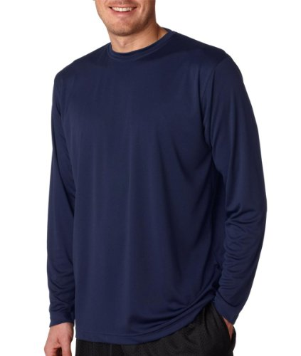 (UltraClub mens Cool & Dry Sport Long-Sleeve Performance Interlock Tee(8422)-NAVY-XL)