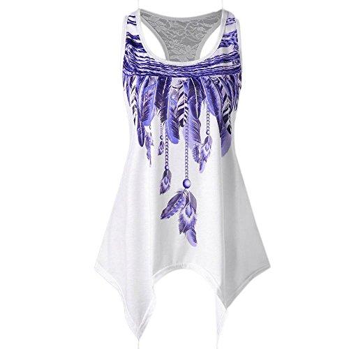 Trim Tank Feather (CUCUHAM Fashion Womens Casual Lace Panel Asymmetrical Feather Print Vest Tank Tops (S, Purple))