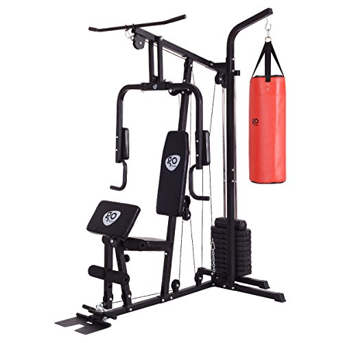 Goplus 100 lb Stack Home Gym Exercise Equipment Machine Chest Press Weight Strength Training Multifunction w/ Punching Bag by Goplus