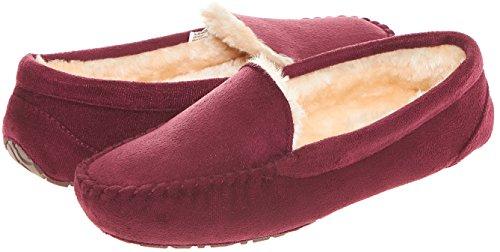 Floopi Womens Indoor Outdoor Fuax Fur Lined Moccasin Slipper W/Memory Foam (M, Burgundy-306)