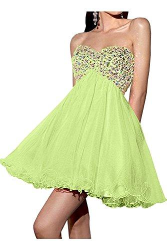 Lemon Abendkleider Steine Kurz Braut Mini Gruen Cocktailkleider Damen Abiballkleider Marie Tanzenkleider La Weiss PHRwY