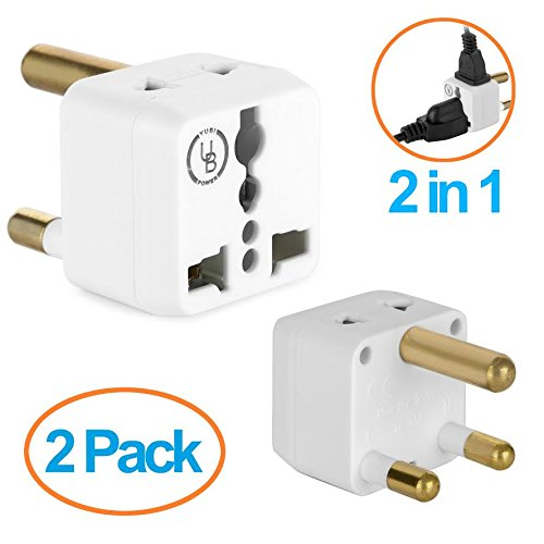 South Africa Adapter by Yubi Power 2 in 1 Universal Travel Adapter with 2 Universal Outlets - White - Type M for South Africa, Lesotho, Mozambique, Namibia, Nepal and more!- 2 PACK