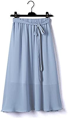 GZZ Falda de Chifón de Mujer de Verano, Cintura Alta y Falda Larga ...