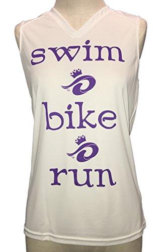 Swim Bike Run - Triathlon Princess Technical V-Neck Shirt (Large) by Running Princess