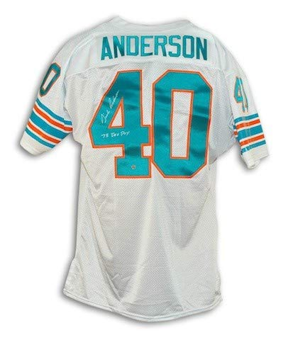 - Autographed Dick Anderson Miami Dolphins White Throwback Jersey Inscribed 73 DEF POY - Certified Authentic Signature