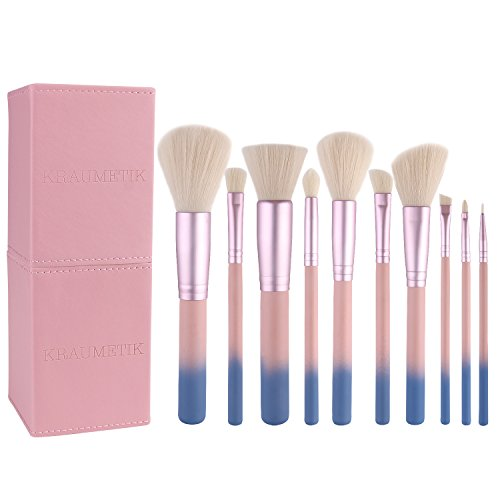 Makeup Brush Set, KRAUMETIK 10 pcs Colorful Makeup Brushes with Leather Cup Holder ()