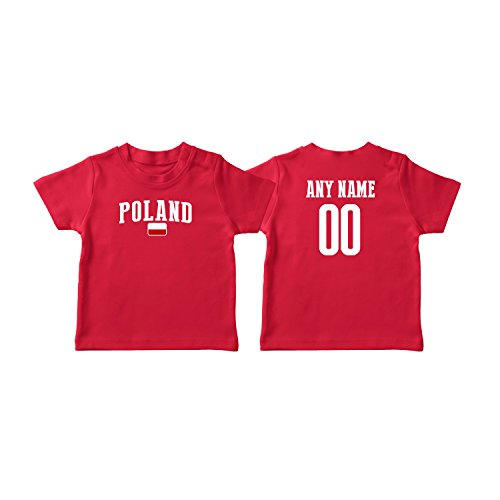 nobrand Poland T-Shirt Kids Infant Country Flag Tee Personalized World Cup Pride (Red T-Shirt ()