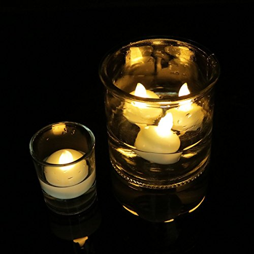 Horeset 24pcs Floating Waterproof Flameless Candle Tealights Battery Operated (Included)- Perfect for Decoration of Birthday Parties Wedding Thanksgiving Christmas Special (Flameless Floating Tea Lights)