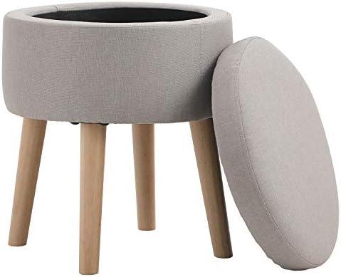 Round Storage Ottoman Footrest Stool