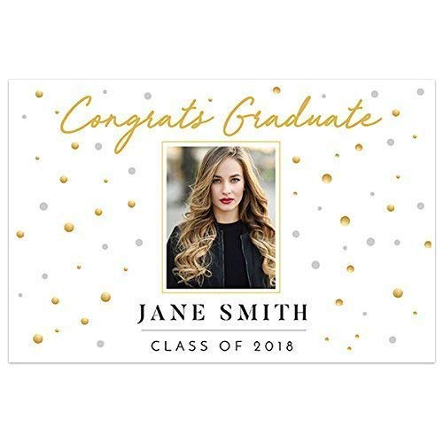 Gold and White Class of 2019 Photo Graduation Banner Personalized Backdrop]()