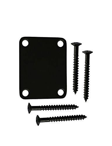 (Metallor Guitar Neck Plate Standard 4 Holes with Screws 64×51mm Compatible with Strat Tele Style Electric Guitar Jazz Bass Parts Replacement Pack of 1Set. (Black) )