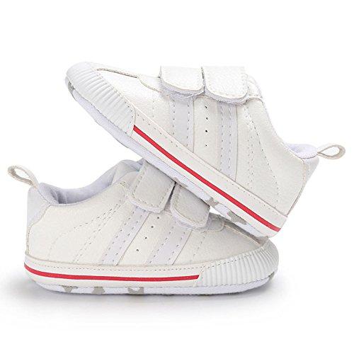 Juleya Zapatos de niño de las muchachas de los muchachos de los niños recién nacidos que caminan primero zapatillas de deporte antirresbaladizas White 6-12M blanco