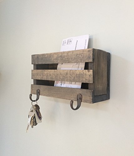 Mail Holder Key Hook Organization Organizer Storage Letters Magazines Wood Rustic Family Farmhouse Reclaimed Barn wood Two Hooks Basket