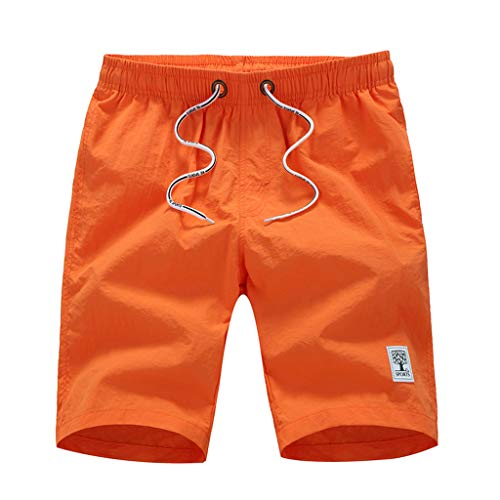 694adf3443932 Men's Summer Beach Swim Trunk with Pocket Board Swim Surf Loose Short Pants  (Orange,