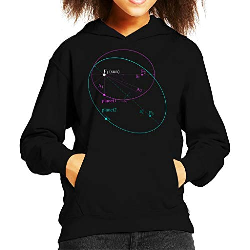 Maths and Science Keplers Law of Planetary Motion Kid's Hooded Sweatshirt Black (Kepler 3 Laws Of Planetary Motion For Kids)
