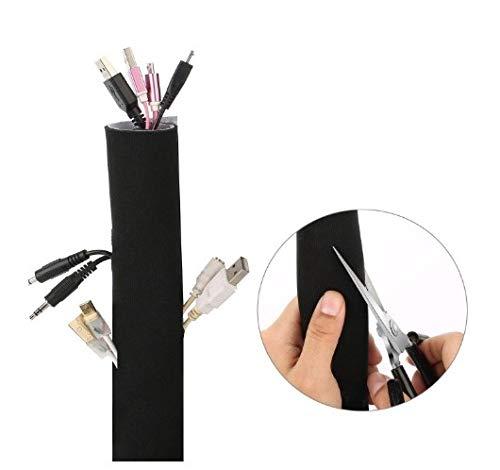 Gestion de câble de 3metre Sleeve, rangement pour câble flexible Blanc/noir pour TV PC Ordinateur de bureau fabriqués à partir de qualité premium en néoprène souple xiaohang dang