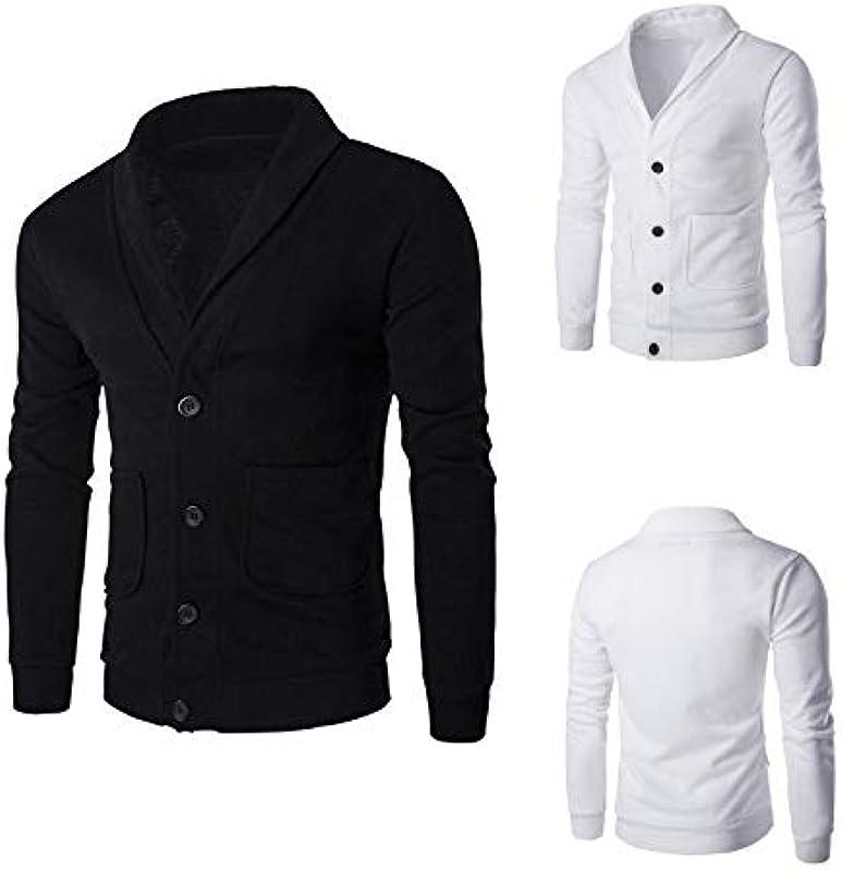 N\P Herbst Męskie Slim V-Ausschnitt Cardigan Sweater Mantel: Odzież