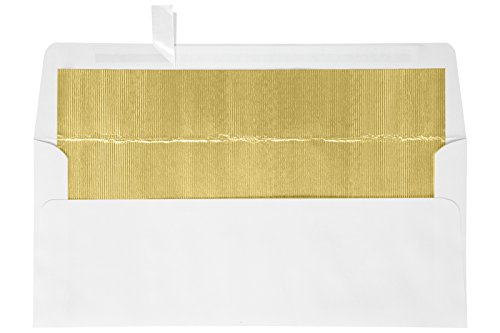 #10 Foil Lined Square Flap HOLIDAY Envelopes (4 1/8 x 9 1/2) w/Peel & Press - White w/Gold LUX Lining (50 Qty.) | Perfect for Checks, Invoices, Letterhead, Statements, and More! | FLWH4260-04-50