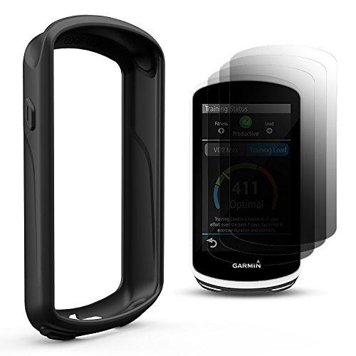 TUSITA Protective Cover for Garmin Edge 1030 , Silicone Skin Case with Screen Protector for Garmin Edge 1030 GPS Bike Computer (Black)