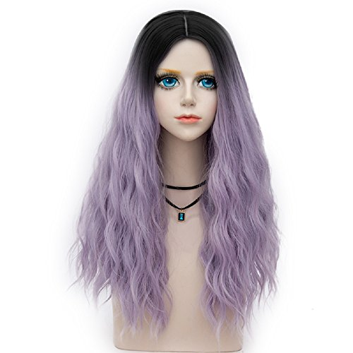 Lolita Costumes Wig Purple (Miracle Collection Dark Root Long Curly Women Lolita Anime Cosplay Wig + Wig Cap (60cm, Pastel Purple)