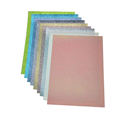 Faux Leather Glitter Canvas Sheets- 9 Pieces Assorted Colors A4 Size(8 X 12 Inch)Shiny Glitter Fabric Sheets for Bows, Earrings, Hair Accessories Making(9 Colors, Each Color One Sheet) ()