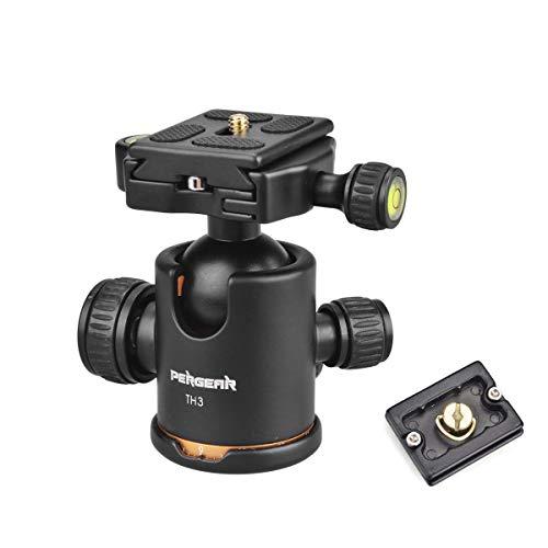 Pergear Heavy Duty Photography Camera Tripod Ball Head 360 Degree Fluid Rotation Tripod Ballhead with 2 Pcs Plate for DSLR Camera